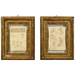 17th Century, Pair of Italian Ink Drawings on Paper with Studies for Grotesques