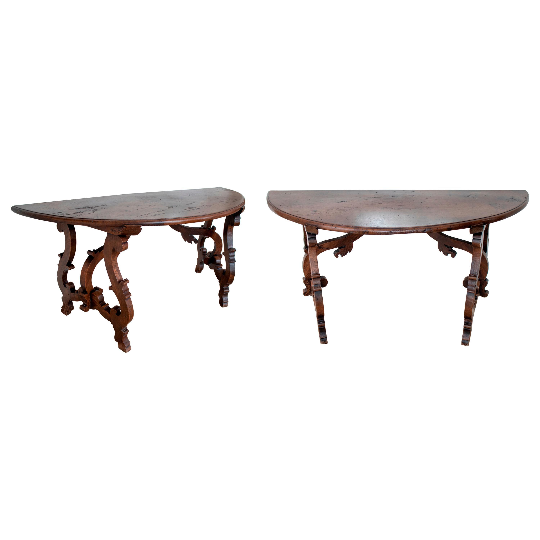 17th Century Pair of Italian Walnut Console Tables