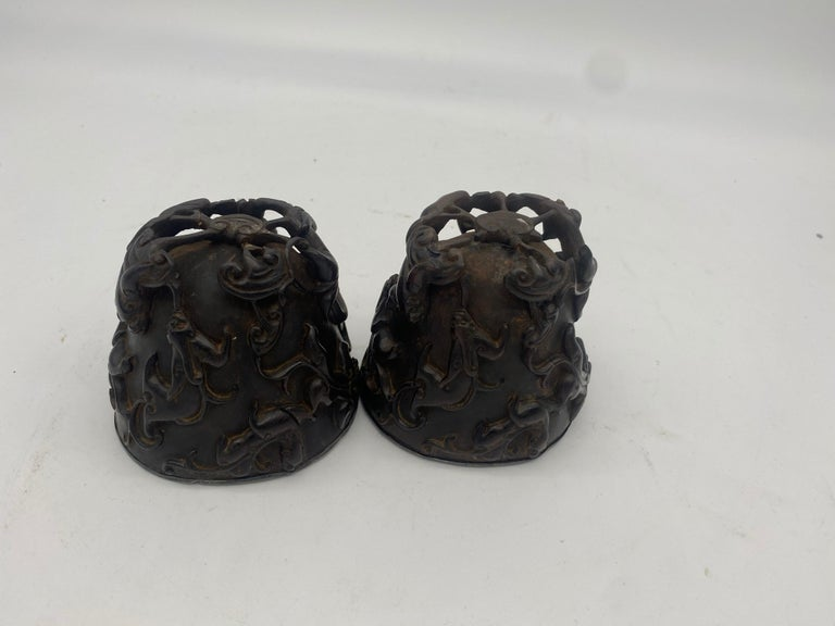 Wood 17th Century Pair of Ming Dynasty Chinese ZiTan Inlaid Silver Cups For Sale