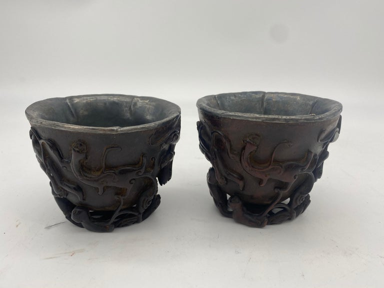 17th Century Pair of Ming Dynasty Chinese ZiTan Inlaid Silver Cups For Sale 3