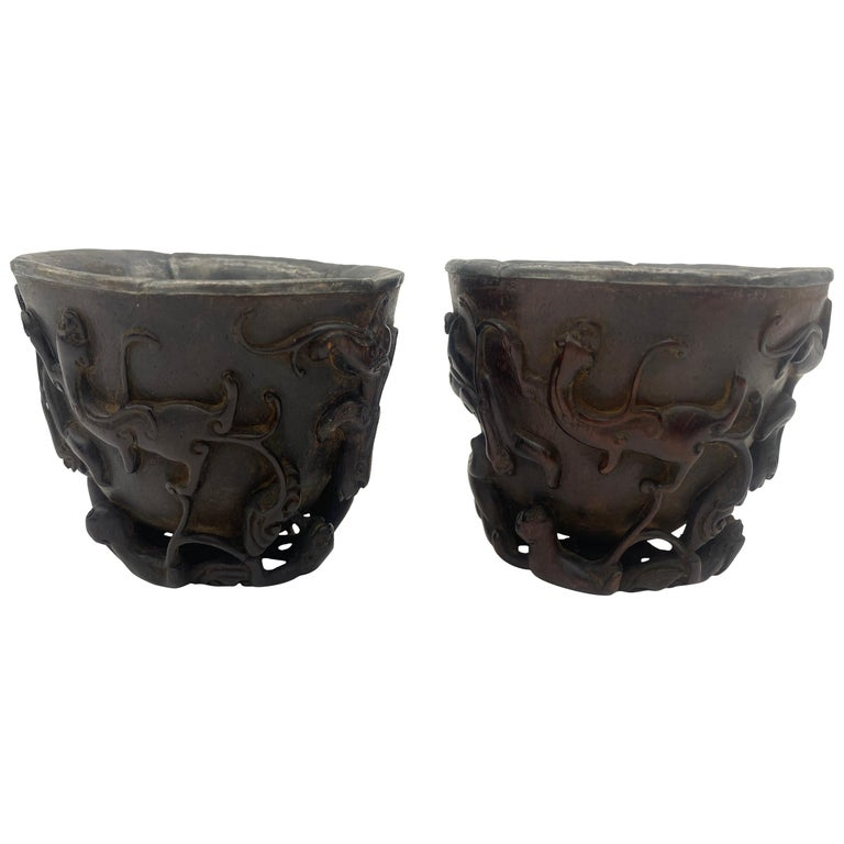 17th Century Pair of Ming Dynasty Chinese ZiTan Inlaid Silver Cups For Sale