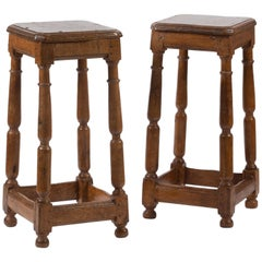 17th Century Pair of Oak Stools