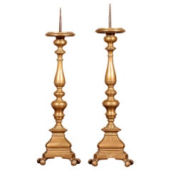 17th Century Pair of Small Candlesticks, Italy in Bronze