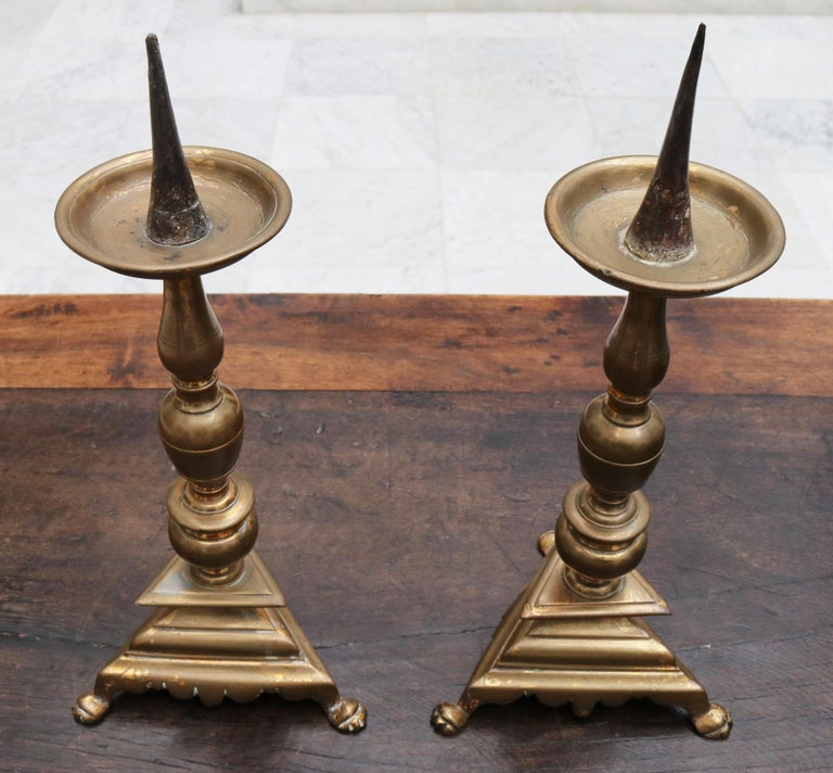 Bronze 17th Century Pair of Spanish Brass Candle Pricket Sticks For Sale