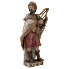 17th Century Polychrome Carved Sculpture of King David Playing the Harp