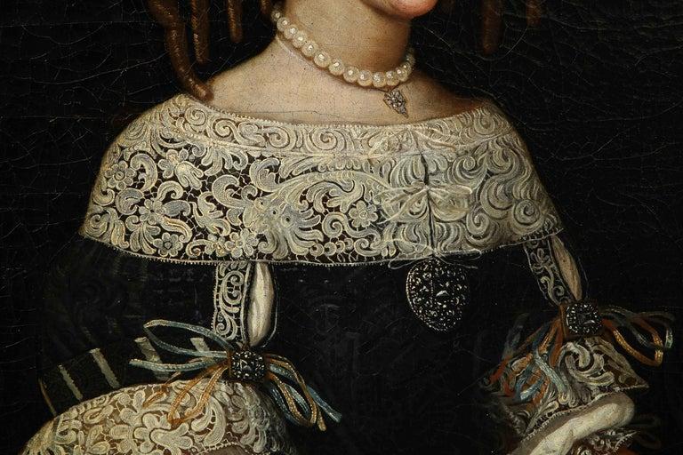 European 17th Century Portrait of a Noblewoman For Sale