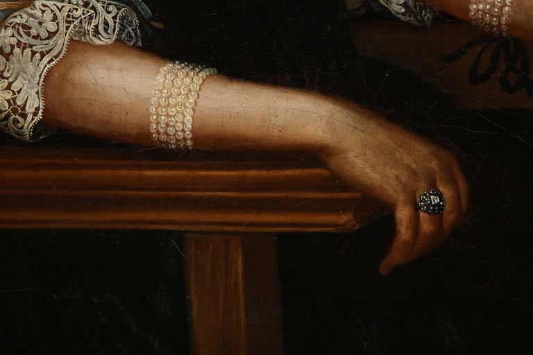 17th Century Portrait of a Noblewoman In Good Condition For Sale In New York, NY