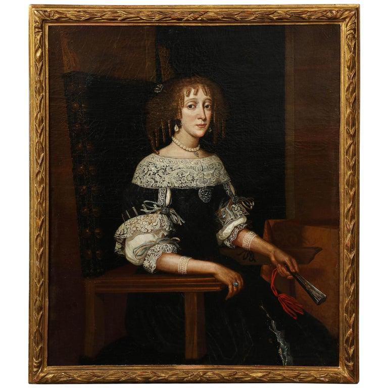17th Century Portrait of a Noblewoman For Sale