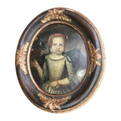 17th Century Portrait of a Young Girl Oil on Copper in Period Frame