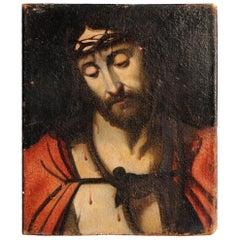 "17th Century Portrait of ""Jesus Christ"" Oil on Canvas"
