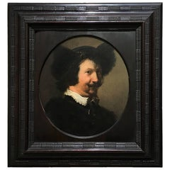 17th Century Portrait of Smiling Man Oil on Wood by Hendrik Pot Holland