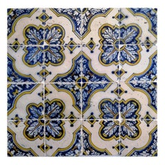 17th Century Portuguese Azulejos in Yellow and Blue