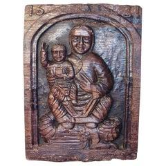 17th Century Primitive Religious Carving Oak Panel 1631