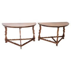17th Century Rare Antique Pair of Console Table Convertible into a Round Table