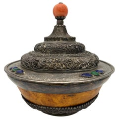 17th Century Rare Tibetan Silver Mounted Brul Covered Bowl with Coral