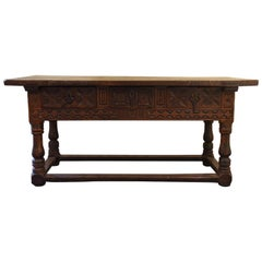 17th Century Rectangular Brown Oak Table Hand Carved, Spain, 1600
