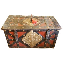 """17th Century Red and Black Spanish """"Armada"""" Style Iron Strong Box"""