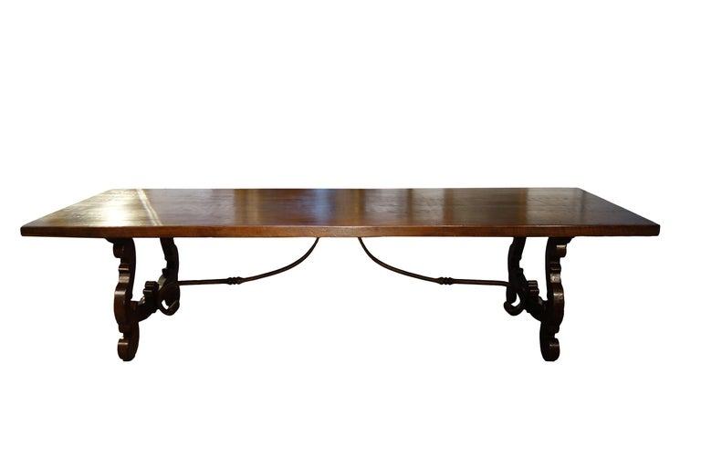 Baroque 17th Century Refectory Style Dining Table with End Extensions, Custom Sizes For Sale