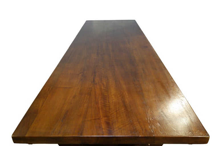 Contemporary 17th Century Refectory Style Dining Table with End Extensions, Custom Sizes For Sale