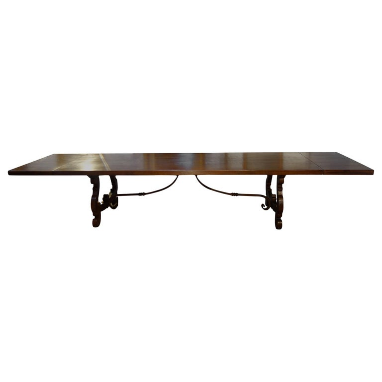 17th Century Refectory Style Dining Table with End Extensions, Custom Sizes For Sale