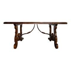 17th Century Refectory Style Old Italian Solid Walnut 50x30 Coffee Table, custom