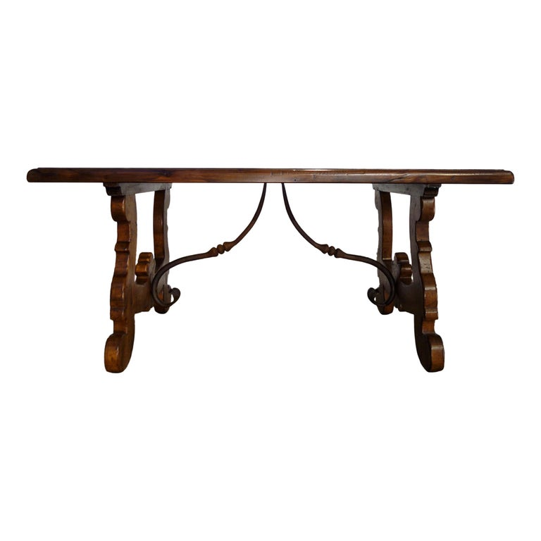 17th Century Refectory Style Old Italian Solid Walnut 50x30 Coffee Table, custom For Sale