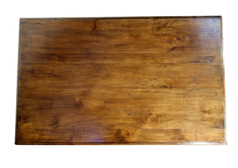Iron 17th Century Refectory Style Old Italian Solid Walnut 50x30 Coffee Table, custom For Sale