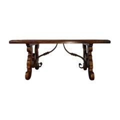 17th Century Refectory Style Old Italian Walnut 42x26 Coffee Table, Custom Sizes