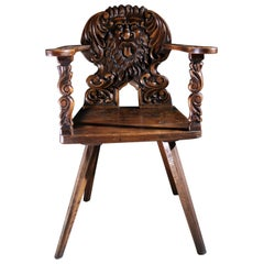 17th Century Renaissance Sgabello Walnut Chair