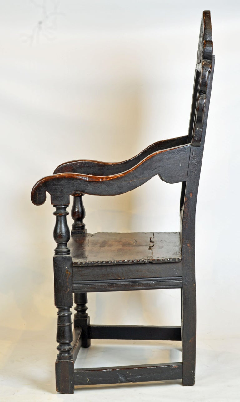 English 17th Century Richly Carved Elizabethan Joined Oak Wainscot Style Chair