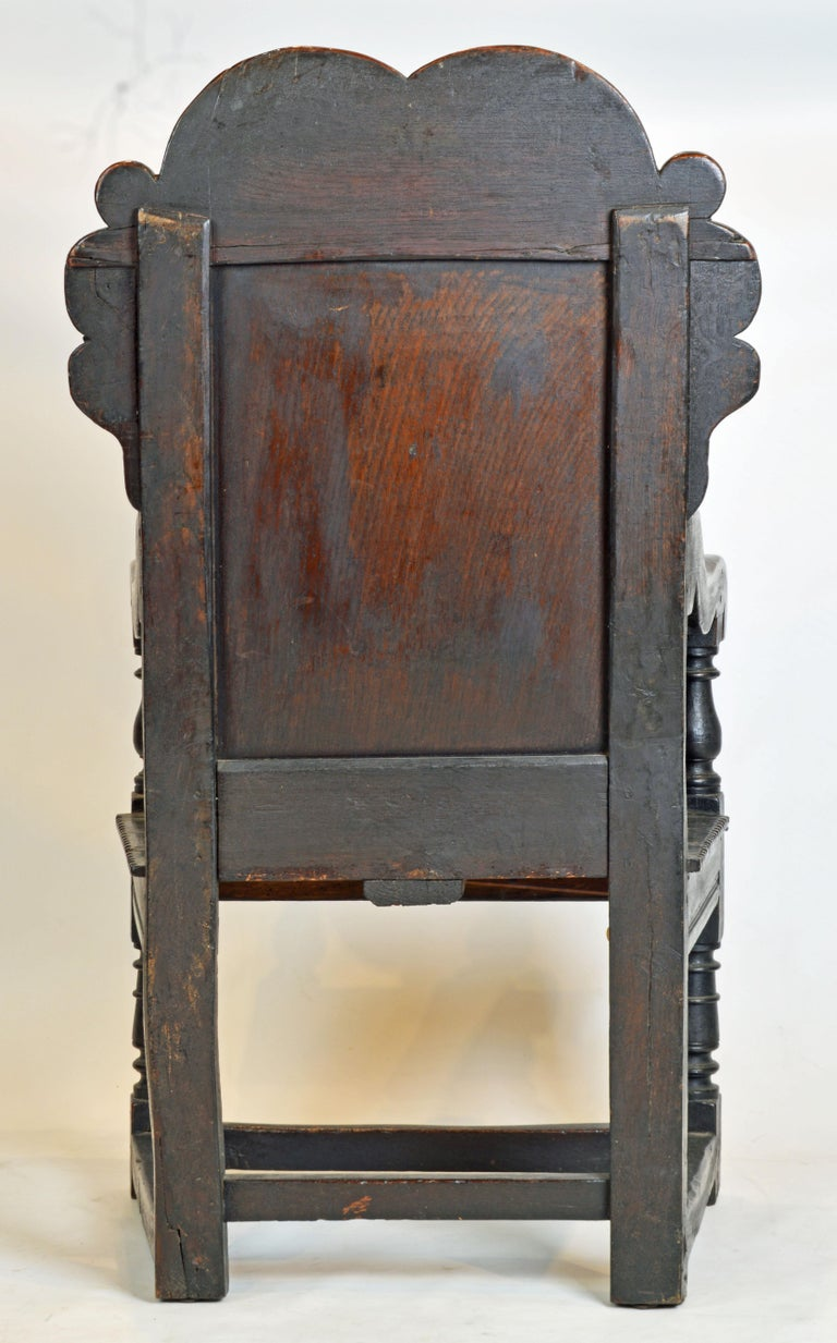 17th Century Richly Carved Elizabethan Joined Oak Wainscot Style Chair In Good Condition In Ft. Lauderdale, FL
