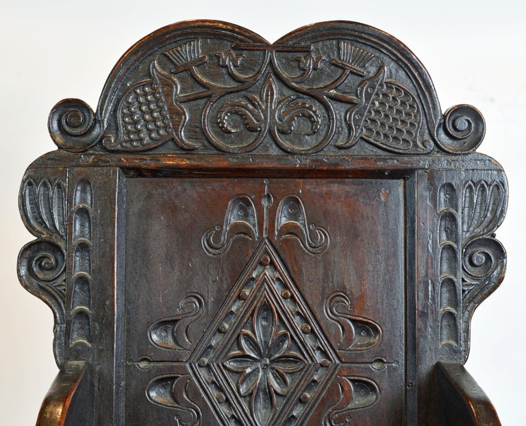 17th Century Richly Carved Elizabethan Joined Oak Wainscot Style Chair 1