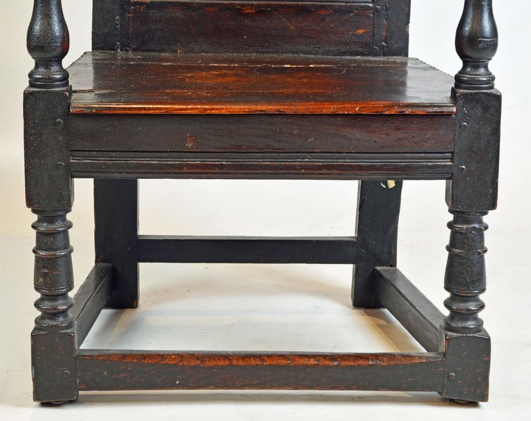 17th Century Richly Carved Elizabethan Joined Oak Wainscot Style Chair 3