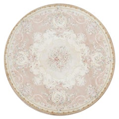 17th Century Round Traditional French Aubusson Style Flat-Weave Rug