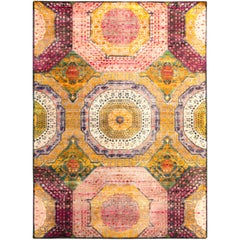 17th Century Rug Inspired Medallion Gold and Purple Piece by Rug & Kilim
