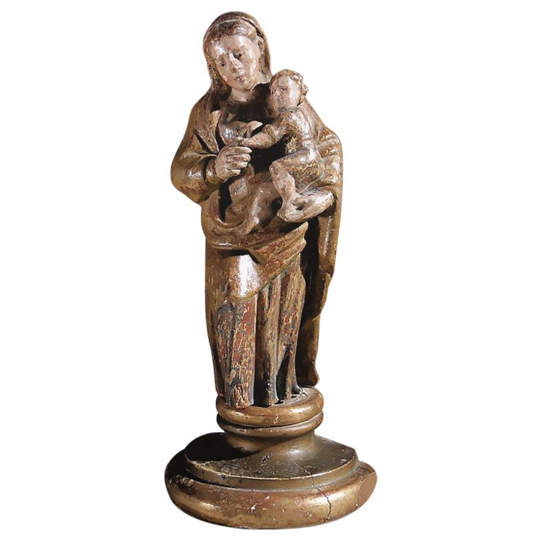 """17th Century Sculpture Wood """"Madonna with child"""", Spain"""