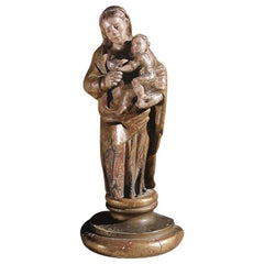 "17th Century Sculpture Wood ""Madonna with child"", Spain"