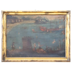 17th Century Sea Landscape with Boats in Golden Frame