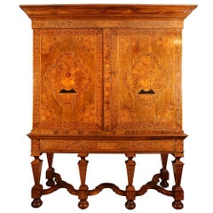 17th Century Seaweed Marquetry Cabinet on Stand