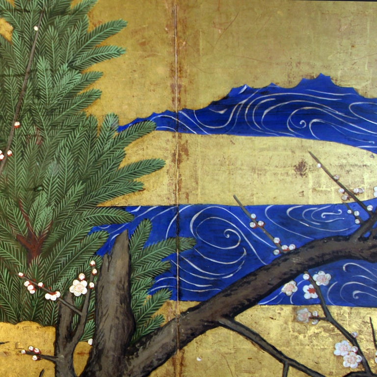 Painted 18th Century Six Panels Japanese Screen Sakura and Pine on the Gold Leaf For Sale