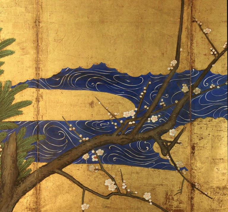 18th Century Six Panels Japanese Screen Sakura and Pine on the Gold Leaf In Fair Condition For Sale In Brescia, IT