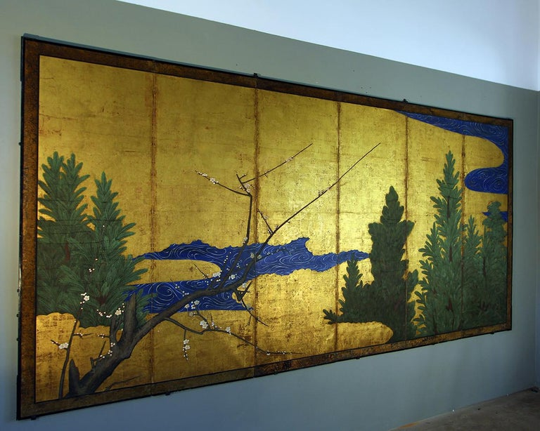 18th Century Six Panels Japanese Screen Sakura and Pine on the Gold Leaf For Sale 1
