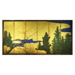 18th Century Six Panels Japanese Screen Sakura and Pine on the Gold Leaf