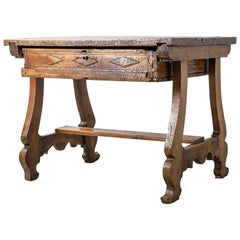 17th Century Spanish Baroque Walnut Writing Desk with Iron Details