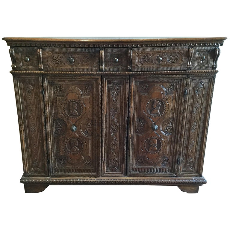 Th century spanish chip carved credenza for sale at stdibs