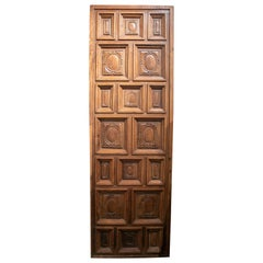 17th Century Spanish Geometric Panelled Hand Carved Wooden Door Panel