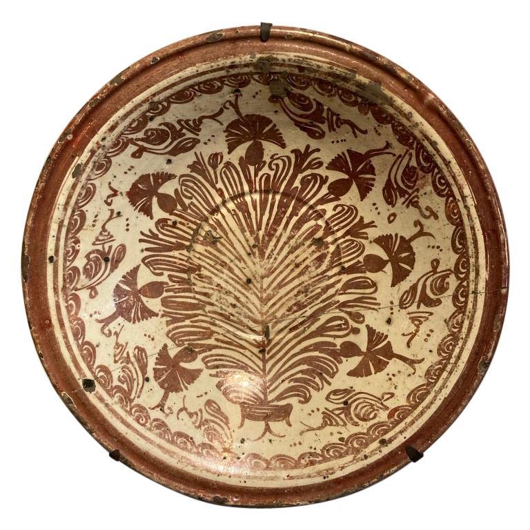 17th Century Spanish Hispano Moresque Copper Lustre Ceramic Bowl