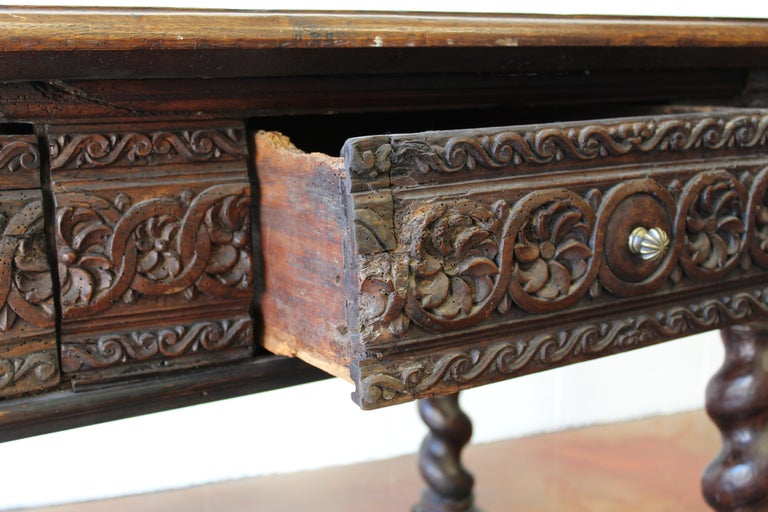 Walnut 17th Century Spanish Library Table For Sale