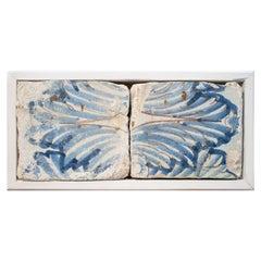 17th Century Spanish Set of 2 Framed Cobalt Blue Glazed Ceramic Tiles