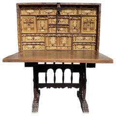 17th Century Spanish Vargueno with Decoupage Exterior on Baroque Style Base